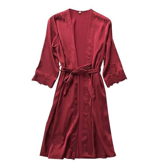 e7eebeade9 Rakkiss Women Lace Kimono Robe Silk Sexy Babydoll Lingerie Mesh Nightgown  at Amazon Women s Clothing store