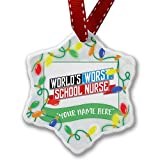 Personalized Name Christmas Ornament, Funny Worlds worst School Nurse NEONBLOND