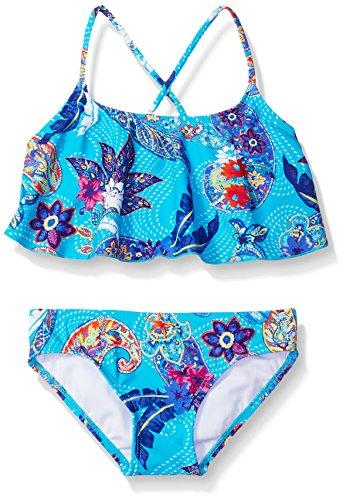 Kanu Surf Little Girls' Alania Flounce Bikini Beach Sport 2-Piece Swimsuit, Melody Aqua Paisley, 6X