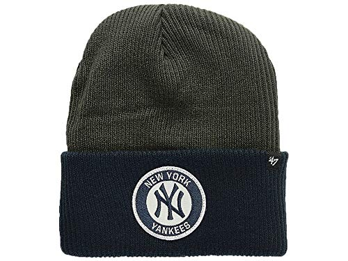 '47 New York Yankees 2-Tone Cuff Ice Block Beanie Hat - MLB NY Cuffed Winter Knit Toque Cap