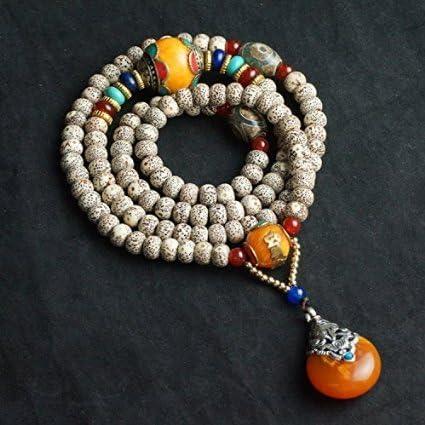 6 8mm*108 Star Moon White Bodhi Seeds Prayer Mala High Density Elastic Necklace