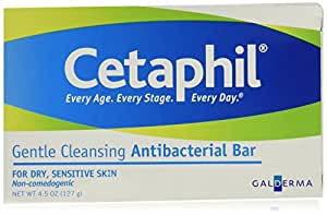 Cetaphil Antibacterial Gentle Cleansing Bar, 4.5 Ounce (Pack of 6)
