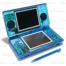 ValueDeluxe Custom Transparent Blue Nintendo DS Lite System Hand held Gaming Console + Bonus World AC Adapter and Car Adapter
