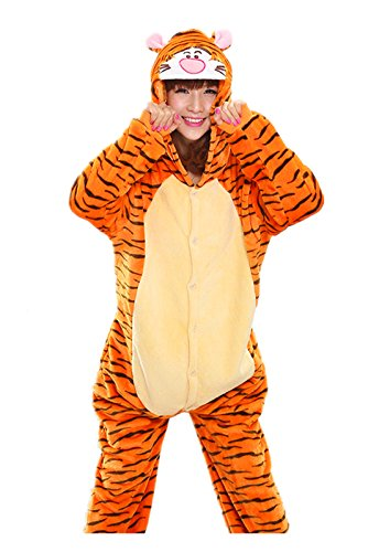 Tigger Pajama Costumes (Akanbou Cute Animal Pajamas Onesies Flannel Plush Anime Pajama Cartoon Cosplay Costumes Unisex Adult Warm Sleepwear Halloween Hooded Homewear (M, Tigger))