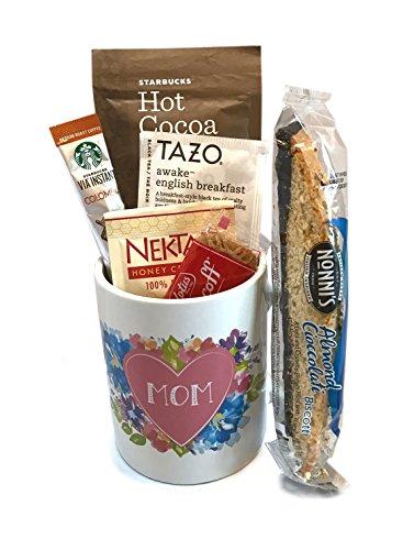 Coffee Tea Cocoa Mug Gift Set with Starbucks Via Coffee, Starbucks Hot Cocoa, Tazo Tea, Honey, Nonni's Biscotti + More -Lots of Cup Styles- (Heart (Halloween Sugar Cookies Fingers)
