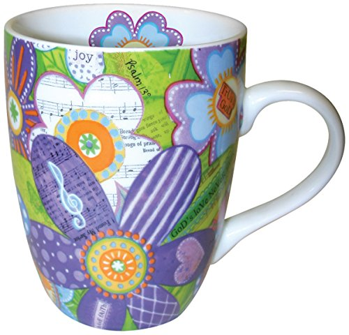 Divinity Boutique Spanish Inspriational Ceramic Mug, Musical Flowers, Trust God, Multicolor