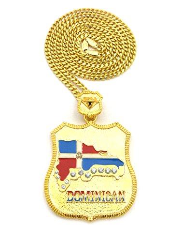 Stone Stud Latin America Flag on Badge Pendant w/ 3mm 30