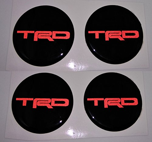 4x DOMED 3D 70 mm 7 cm TOYOTA TRD REFLECTIVE BLACK RACING DEVELOPMENT LOGO Black Gloss Badge Wheel Gel Raised Resin Gloss Black Center Cap Hub Emblem Decal Sticker Gel ()