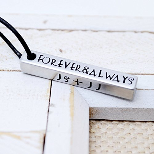 Custom Silver Tone Bar Necklace - Four Sides Engraving - Unisex Lightweight Hypoallergenic ()