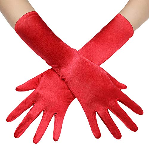 - BABEYOND Long Opera Party 20s Satin Gloves Stretchy Adult Size Elbow Length 15 Inches (Red)