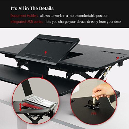 Loctek - Height Adjustable Standing Desk 36'' Wide Platform, Removable Keyboard Tray with Power Strip Holder & USB Port (PL36B) by Loctek (Image #1)
