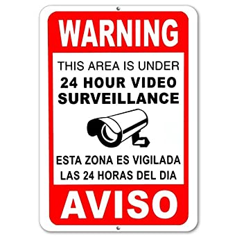 Notice 24 Hour Video Surveillance Security Camera Red 8x12 Alum Sign Made in USA