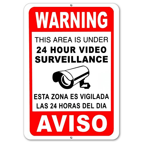 Video surveillance cctv signs security camera signs Metal Aluminum English Spanish