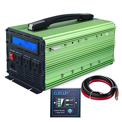 EDECOA Power Inverter 2000W Modified Sine Wave DC 12V to 110V AC with LCD Display and Remote