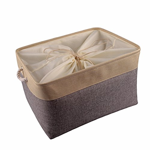 TheWarmHome Decorative Jumbo Storage Basket Rectangular Fabric Storage Bin Organizer Basket with Handles for Clothes Storage|Empty Gift Basket (Grey Patchwork, (Home Decorative Fabric)