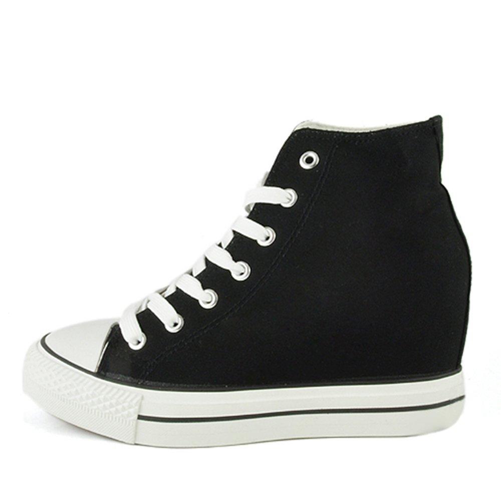 - Senza marca/Generico - Scarpe da Donna Sneakers Tela Tessuto Zeppa Interna Platform Rialzo Fiori Floreale B170 Nero 40 ratqAA