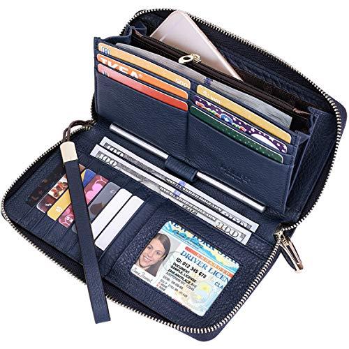Itslife Women RFID Blocking Wallet Leather Zip Around Phone Clutch Large Travel Purse Wristlet -