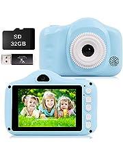 CKATE Kindercamera digitale selfiecamera met twee lenzen voor baby's van 3 tot 10 jaar oud, 3,5 inch kleurenscherm 1080 FHD met 32 GB SD-kaart, cadeaus voor jongens en meisjes, blauw