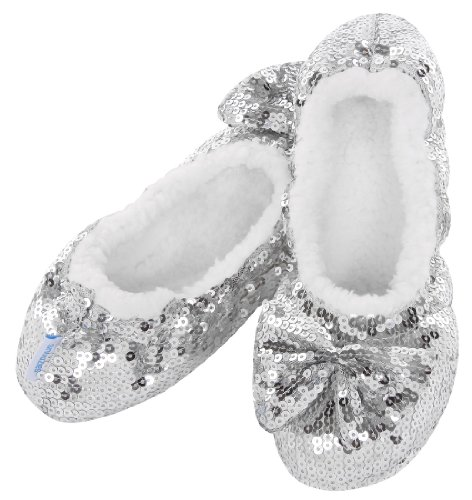 Ballerina Bling Snoozies in Silver (Large UK 6-7)