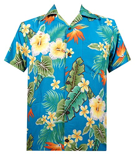 Alvish Hawaiian Shirt 46 Mens Flower Leaf Beach Aloha Party Camp Holiday Turquoise S