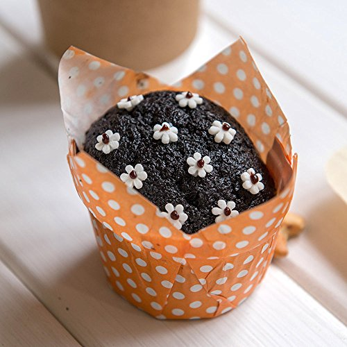 Panificio Premium 1.2-oz Baking Cups: Regular-Petal Paper Baking Cups Perfect for Muffins, Cupcakes or Mini Snacks - Hot Orange Polka Dot Print Design - Disposable and Recyclable - 200-CT