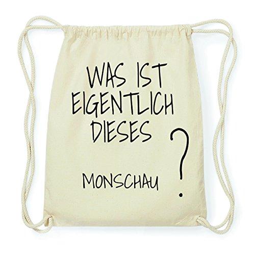 JOllify MONSCHAU Hipster Turnbeutel Tasche Rucksack aus Baumwolle - Farbe: natur Design: Was ist eigentlich
