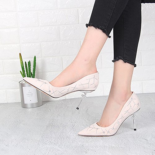 Summer Shoes Optional with High 9CM High High Shoes 2 Color Heeled Pointed Quality Feifei Sandals Material 02 Vintage Women's Fashion qtwfECnZxF