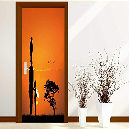 L-QN Art Decor 3D Door Wall Mural Wallpaper Stickers Femme africaine et de l'enfant Dans le paysage africain Door Wall Mural Wallpaper Stickers W31 x H79