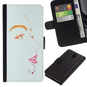 For Samsung Galaxy Note 3 III Case , Lips Eyes Portrait Painting Minimalist - la tarjeta de Crédito Slots PU Funda de cuero Monedero caso cubierta de piel