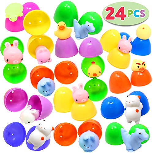 JOYIN 24Pcs Mochi Squishy Toys Prefilled Easter Eggs Kawaii Foamy Stress Reliever Squishies for Easter Theme Party Favor, Easter Filled Eggs Hunt, Basket Filler, Classroom Prize Supplies