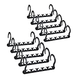 SONGMICS Magic Hangers 10 Pack - Heavy Duty Closet Organizer Space Saving Clothing Hangers Hold up to 33 LBS 10 Clothes per Hanger, Plastic&Gray UCRP23G-10