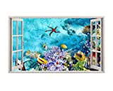 a202 aquarium Fish Tank Coral Wall Decal Poster 3D art Stickers Vinyl Room (Large (90x52cm))