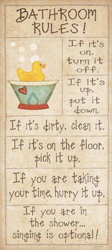 Family Bathroom Rules by Jo Moulton Sayings Print Poster 8x18