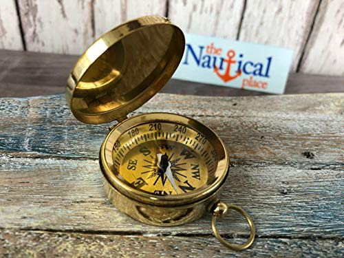 Brass Compass with Lid - Vintage Antique Mini Pocket Style - Nautical Pendant for Home Decor Collection