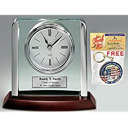 Engraved Clock with Silver Post Suspended on Acrylic Silver Engraving Plate Personalized Retirement Wedding Gift Employee Recognition Award Anniversary Service Employee Coworker Retire