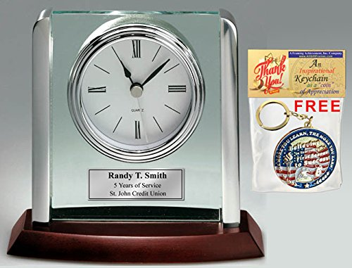 - AllGiftFrames Engraved Clock with Silver Post Suspended on Acrylic Silver Engraving Plate Personalized Retirement Wedding Gift Employee Recognition Award Anniversary Service Employee Coworker Retire