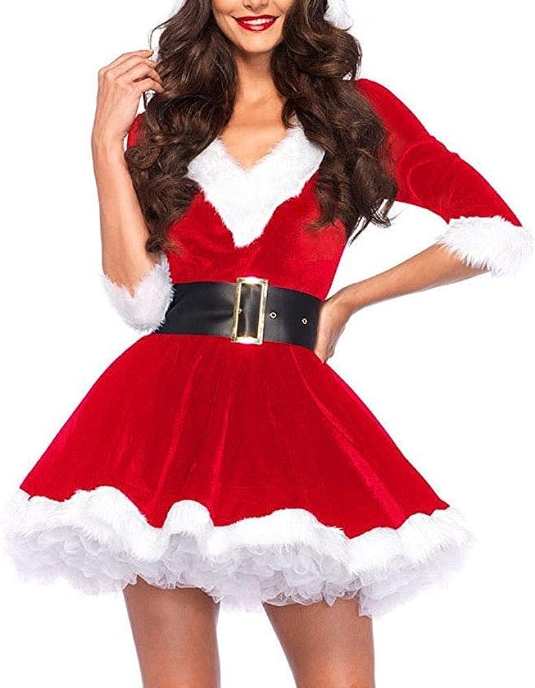 Disfraz Fever de Mamá Noel, Disfraz de Navidad Mujer Vestido Rojo de Terciopelo Princesa Traje de Santa Mamá Noel Fiesta Chicas Cosplay Christmas Ropa de Navidad Adulto