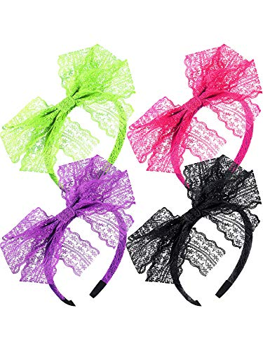 Blulu 80's Lace Headband Costume Accessories for 80s Theme Party, No Headache Neon Lace Bow Headband, Set of 4 (4 Color B) ()