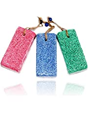 Natural Pumice Stone for Feet - (3 Pcs Assorted Colors) Earth Lava Callus Remover for Heels & Palm - Pedicure Exfoliation Tool - Dry Dead Skin Scrubber - Health Foot Care