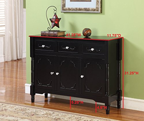 King's Brand R1021 Wood Console Sideboard Table with Drawers and Storage, Cherry Finish by King's Brand (Image #3)