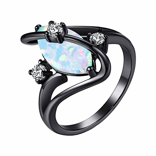 MGIE Marquise Cut White Fire Opal Women's Men's Fashion Jewelry Black Gold Wedding Engagment Ring ()