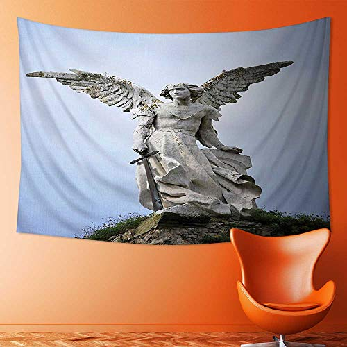 (L-QN Elastic Fabric Tapestry,Collection Sculpture of a Guardian Angel with Sword in The Cemetery of Comillas Home Decor )