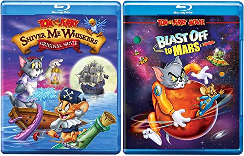 Extreme Cat & mouse duo Cartoon Tom and Jerry Animated Movie Rocket Blast Off to Mars/ Shiver Me Whiskers Pirate Adventure Double Fun Hana-Barbera Blu Ray Pack (Hood Rocket Robin)