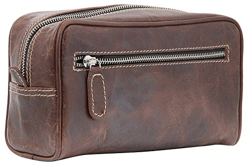 Silkroute Craft Leather Toiletry Bag For Men (Dopp Kit) featuring Travel Bottles (crunchy brown)