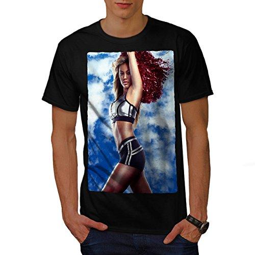 wellcoda Cheerleader Erotic Sexy Mens T-Shirt, Sexy Graphic Printed Tee