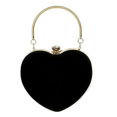 ZLMBAGUS Women Exquisite Heart Shape Evening Clutch Velvet Leather Tote  Handbag Chain Party Shoulder Crossbody Bag af3dc81ba770