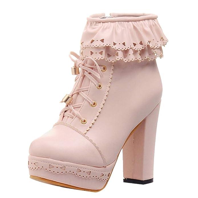 7dc780e9fbf5 ... Pink Women s Platform Ankle Boots black white pastel goth nu goth lace creepy  cute boots creepy