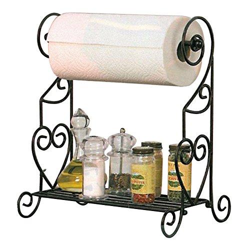 VANRA Spice Rack Kitchen Spice Stand Jars Storage Organizer with Tissue Dispenser Rack/Bathroom Paper Towel Holder & Towel Bar (Black) ()