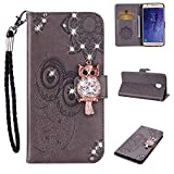 Amocase Wallet Case with Black 2 in 1 Stylus for Samsung Galaxy J7 2018,3D Bling Gems Owl Magnetic Mandala Embossing Premium Strap PU Leather Card Slot Stand Flip Case for Samsung Galaxy J7 2018 - Gray