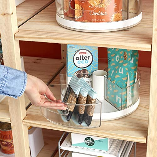 """51TVd3U0F4L. AC YouCopia Crazy Susan Kitchen Cabinet Turntable and Snack Organizer with Bins    YouCopia's crazy Susan 11"""" turntable with bins is a smooth-spinning lazy Susan that doesn't sweat (or hide) the small stuff. Easily organize the little things that often clutter a kitchen, pantry, closet, office or bathroom. This cabinet helper features three individual bins with handles, so you can remove an entire bin to quickly grab something, and then pop it back on the turntable when finished. Spin and see what you need with clear acrylic bins. Stainless steel Ball bearings provide smooth 360 degree rotation. Made of durable, BPA-free plastic with soft, non-slip feet to keep it all in place. No installation or assembly required. Simply throw items into bins and call it a win. Measures 10.4"""" d x 10.4"""" W x 4.1"""" H (26, 4 x 26, 4 x 10, 4 centimeters). YouCopia is that feeling of triumph over small stuff. No one likes the hassle of a messy home, so our products keep items organized just the way you want. Go ahead, """"woo Hoo"""" when everything is right where it should be."""